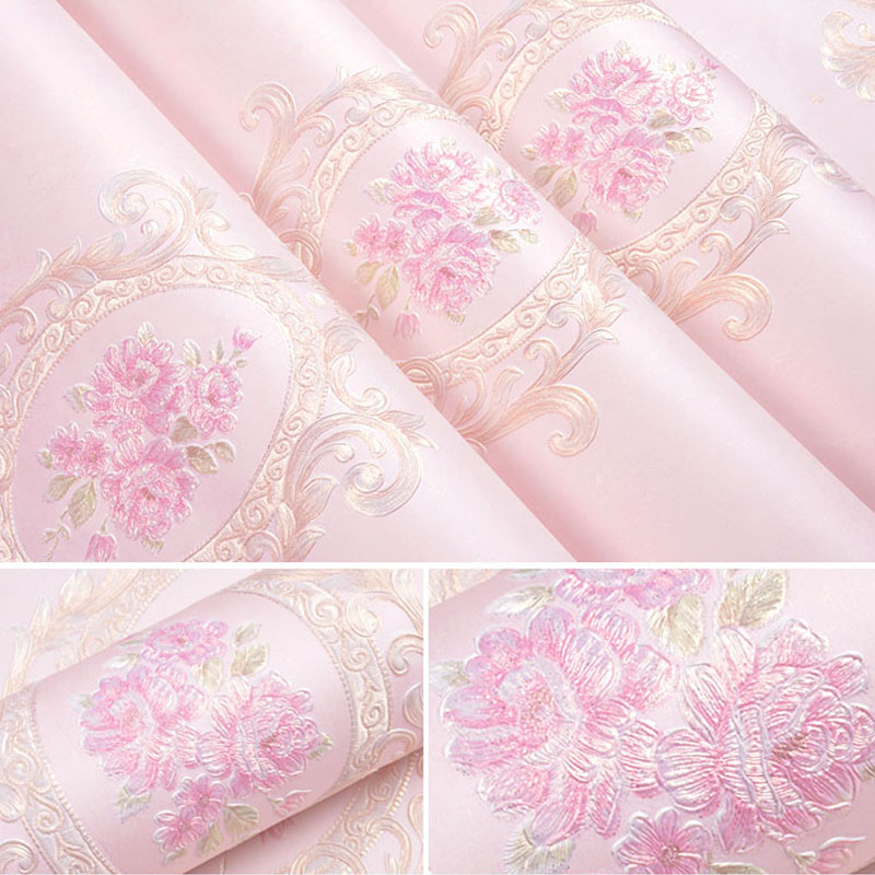 Купить с кэшбэком European Floral Wall Papers Home  Decor Non-woven Pink Flower Wall Paper Roll for Living Room Bedroom Walls Papel Mural behang
