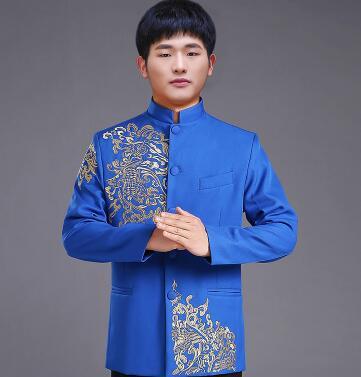 Vêtements pour hommes pratensis style chinois haut de mariage le marié dragon robe de soirée rouge haut slim rouge tang costume chinois tunique - 6