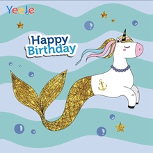 Yeele Vinyl Unicorn Mermaid Baby Birthday Party Photography Background Children Child Photographic Backdrop For Photo Studio