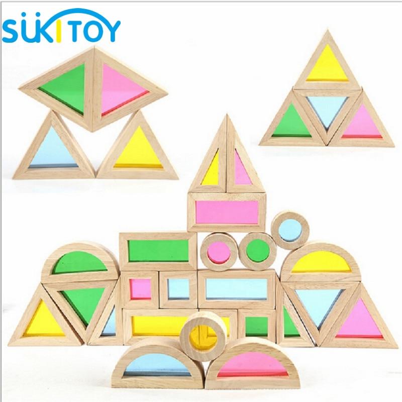 Montessori drveni duge građevni blokovi 24pcs igračke za djecu 6 - Izgradnja igračke - Foto 5