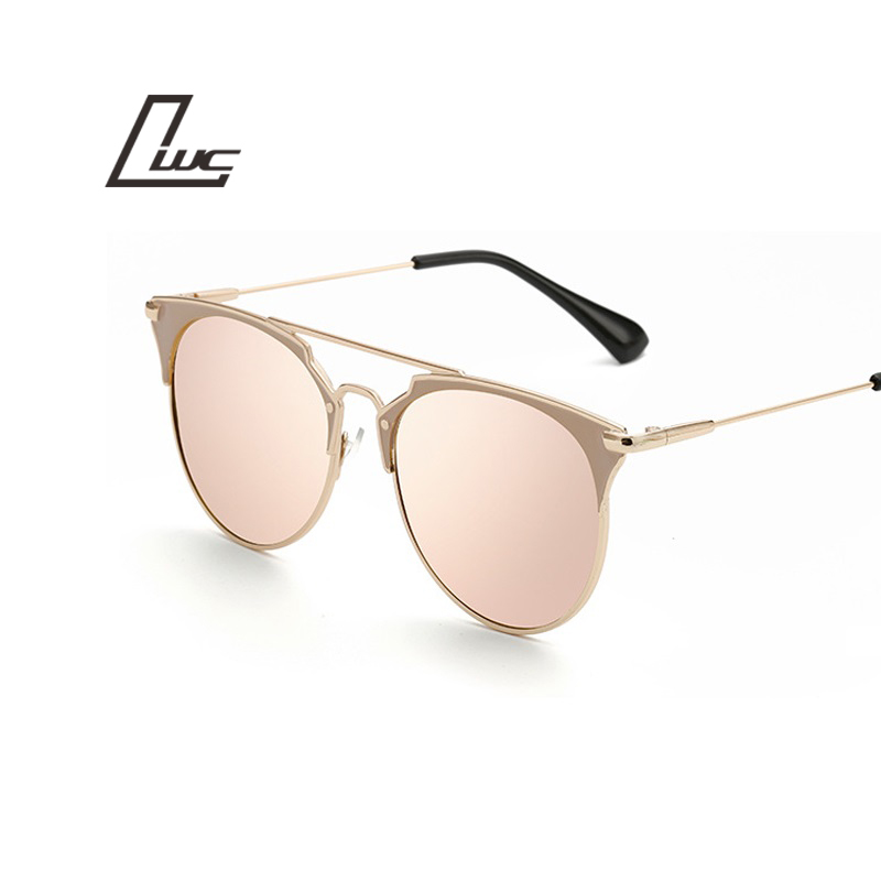 Retro Round Cat Eye font b Sunglasses b font Men Women Designer Eyewear Metal Frame UV400