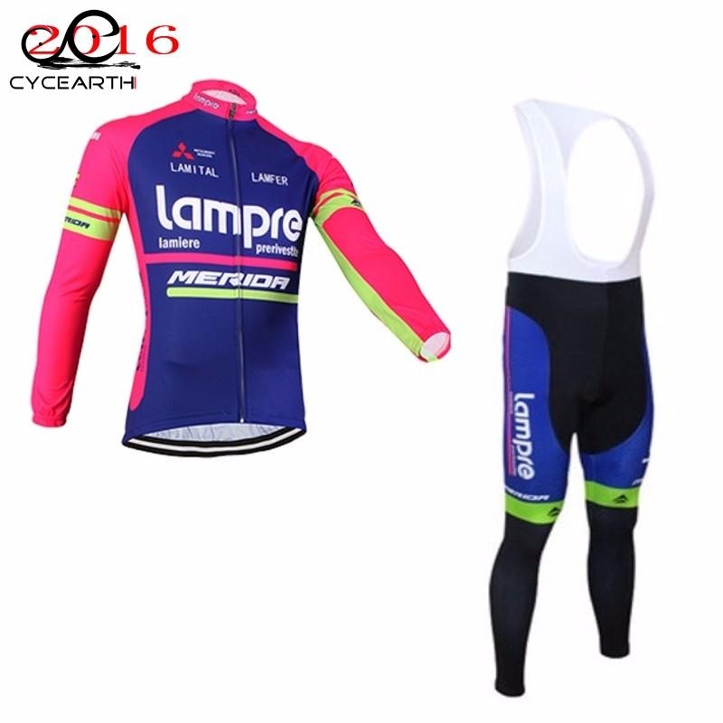 2016 pro team lampre merida long sleeve cycling jersey thin Ropa Ciclismo quick-dry bike cloth Bicycle maillot bib pants teleyi team cycling outfits mens ropa ciclismo long sleeve jersey bib pants kits bicycle jacket trousers set red black