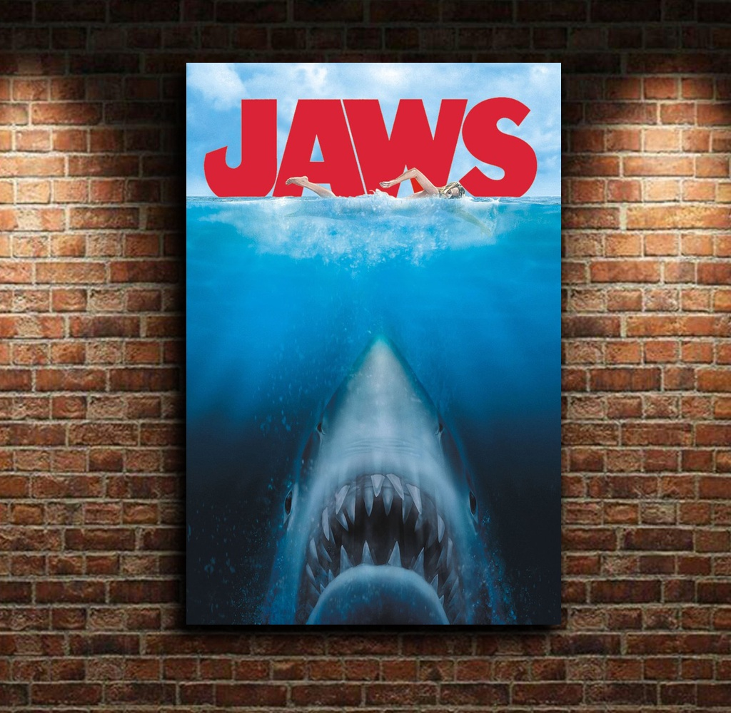 Steven Spielberg's Jaws The Great White Shark Classic Movie Poster Movie Canvas Poster Wall Art Print Kids Decor Home Decor image