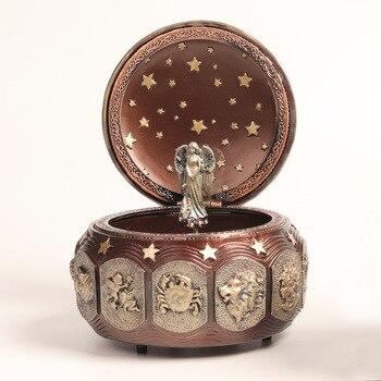 Resin music box retro classic mechanical rotating music box 12 constellation music boxs 'sky city' music birthday Christmas gift