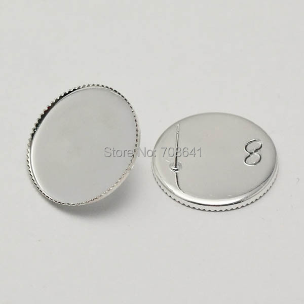 Blank Earrings Bases Round Bezel tray with Loop Back Cabochon Stud pin Earrings post Settings Crafts