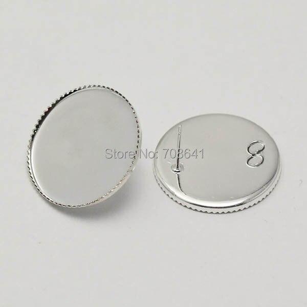 Puste kolczyki podstawy okrągły Bezel taca z pętli powrót Cabochon Stud pin kolczyki post ustawienia rzemiosła DIY ustalenia posrebrzane w Wykończenia i elementy biżuterii od Biżuteria i akcesoria na  Grupa 1