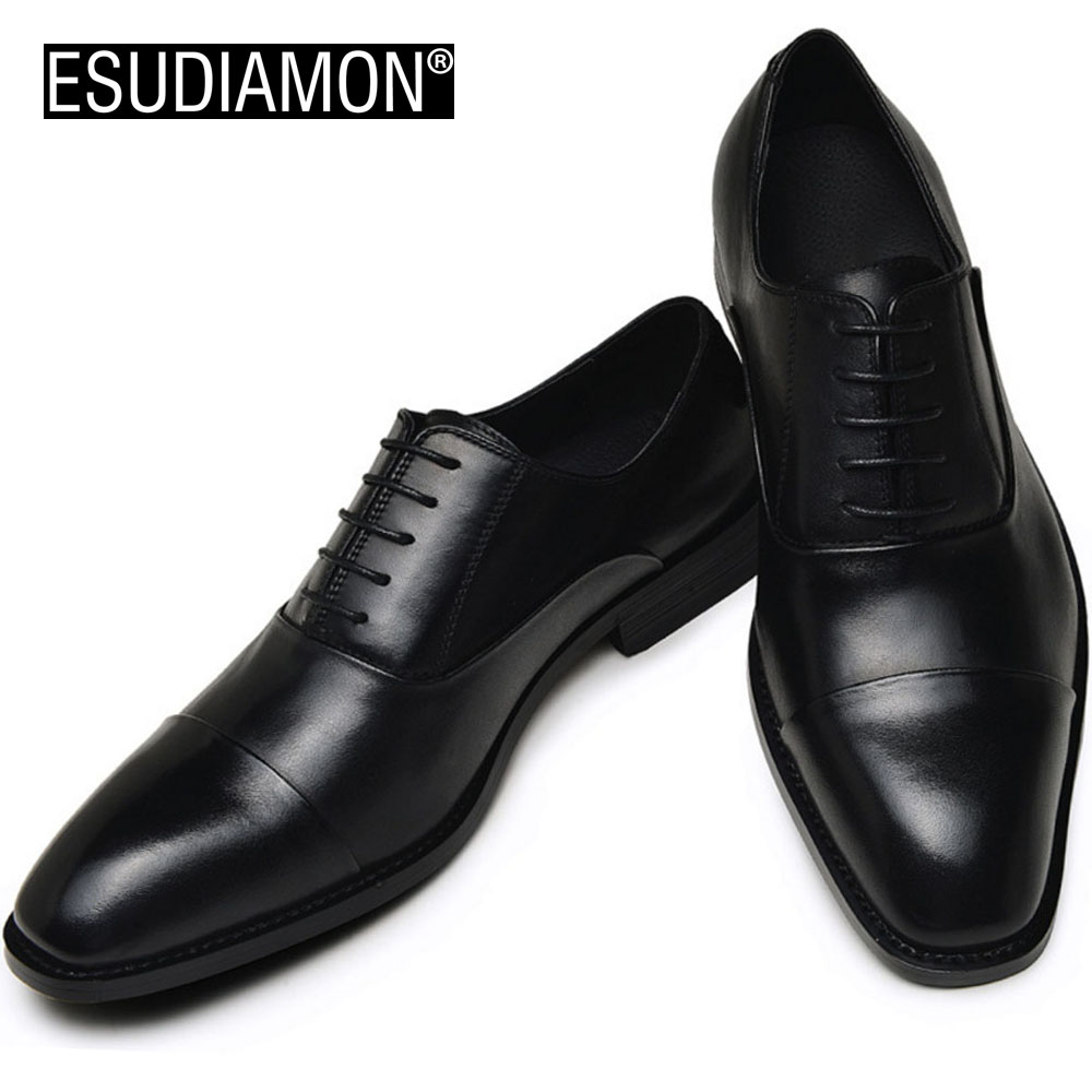 ESUDIAMON NEW Genuine Leather Men Shoes Black Business Top Quality Dress Oxfords Shoes Brand Lace up Wedding Shoes Zapatos цены онлайн