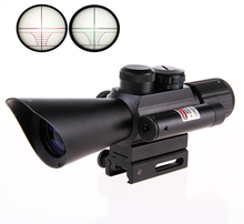 Big sale New riflescope Hunting Tactical 4×30 M7 Rifle Telescopic + Red Laser Sight+ Mount For Optics Tactical Telescopic Sight outing