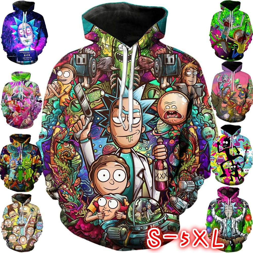 Rick and Morty Cosplay Costumes Rick Morty Hoodie 3D Printed Hooded Sweatshirt 2019 European and American fashion trend hoodie