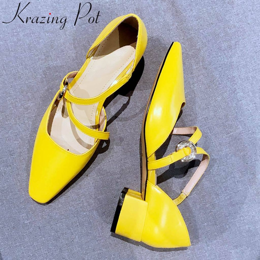 Krazing وعاء جميلة الفتيات زلة على حذاء بكعب سميك زلة على مربع اصبع القدم جلد طبيعي حجم كبير حزب الزفاف النساء جوفاء الصنادل l35-في الكعب المنخفض من أحذية على  مجموعة 1