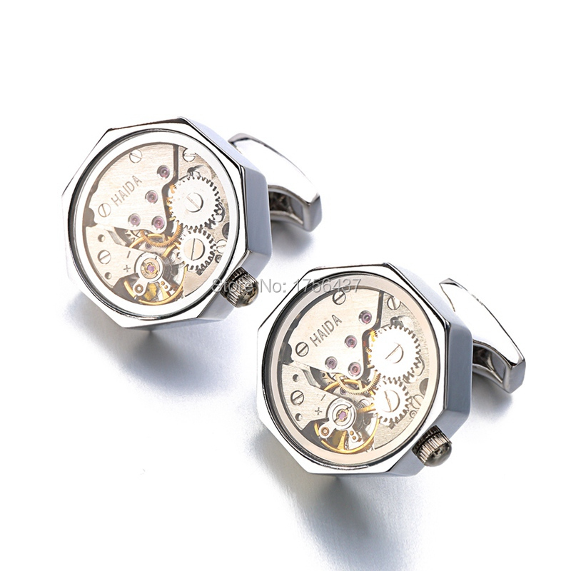 Watch Movement Cufflinks with Glass (1)