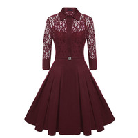 Liva Girl Women Vintage Pleated Dress Autumn Retro Style Sexy Pattern Slim Casual Party Swing Lace