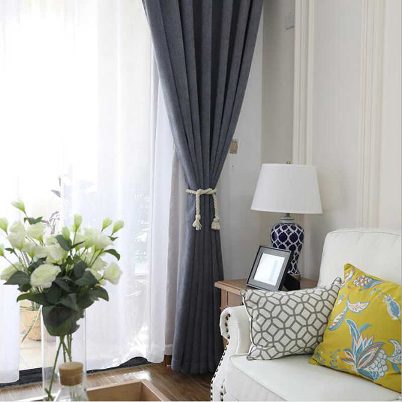 Solid Chenille Blackout Curtains Living Room Bedroom Study Cotton Polyester French Curtain Rideaux L013C