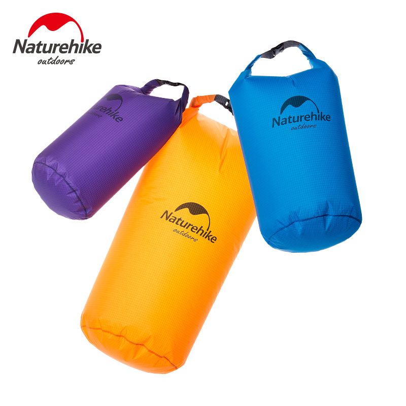 Naturehike Outdoor Mens Travel Storage Bags 40D Nylon Ultralight Waterproof Compression Dry Bag Swimming Rafting Bags 5L 10L
