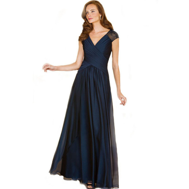 2017 Fshion Primavera Verão Mãe vestido Cap Mangas Veja Embora Lace volta Azul Escuro Marinha Mãe dos Vestidos de Noiva Plus Size