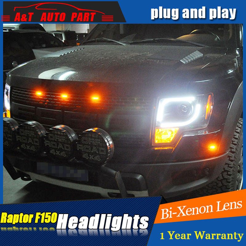 Auto part Style LED Head Lamp for Ford raptor F 150 led headlights 09 12 for F150 drl H7 hid Bi Xenon Lens angel eye low beam