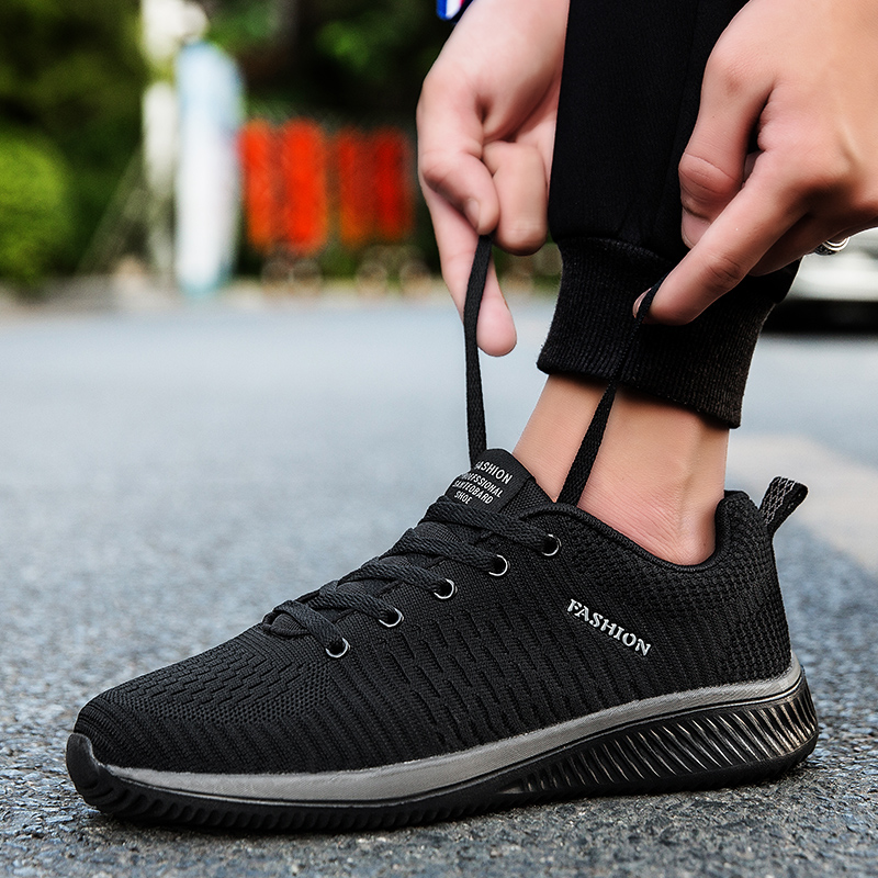 fa1a2661 Новинка 2019 года; Мужская прогулочная обувь из сетчатого материала; мужские  Нескользящие туфли на шнуровке; легкие дышащие теннисные кроссо.