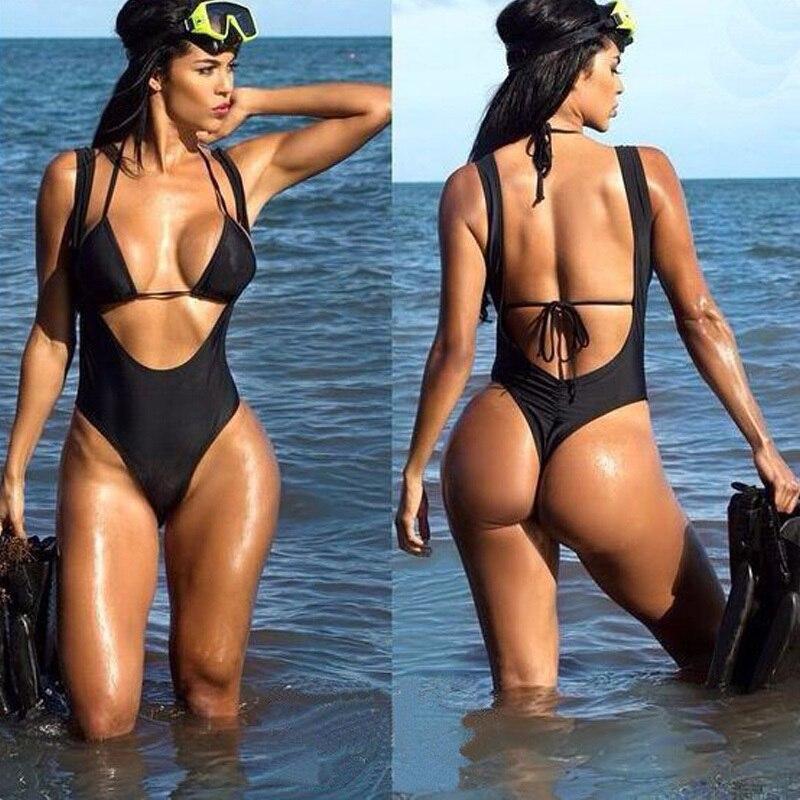 18e42de70fa Sexy Bikinis Women Cut One Swimsuit High Waisted Bathing Suits Two Piece  Backless Print Swim Halter