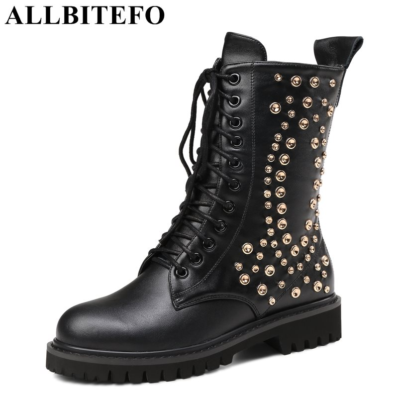 ALLBITEFO fashion rivets genuine leather medium heel women boots thick heel martin boots casual girls boots large size:34-43 free shipping 2013 genuine leather high heel casual cotton padded shoes plus size 40 43 boots thick heel women s boots z476