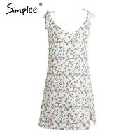 Simplee Boho Floral Print Strap Short Summer Dress Deep V Neck Side Split Women Sundress Casual
