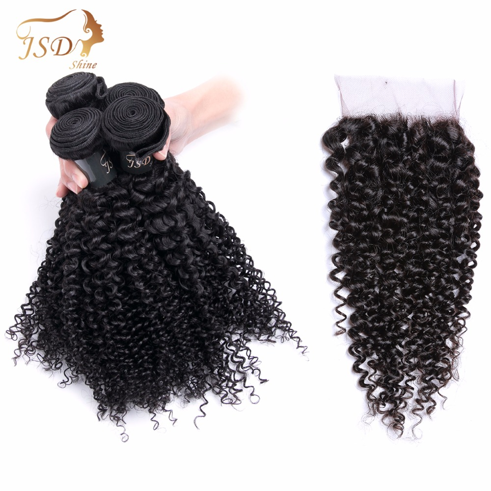 JSDShine Kinky Curly Human Hair Bundles With Closure Non-remy Brazilian Hair Weave 4 Bundles Kinky Curly With Lace Closure
