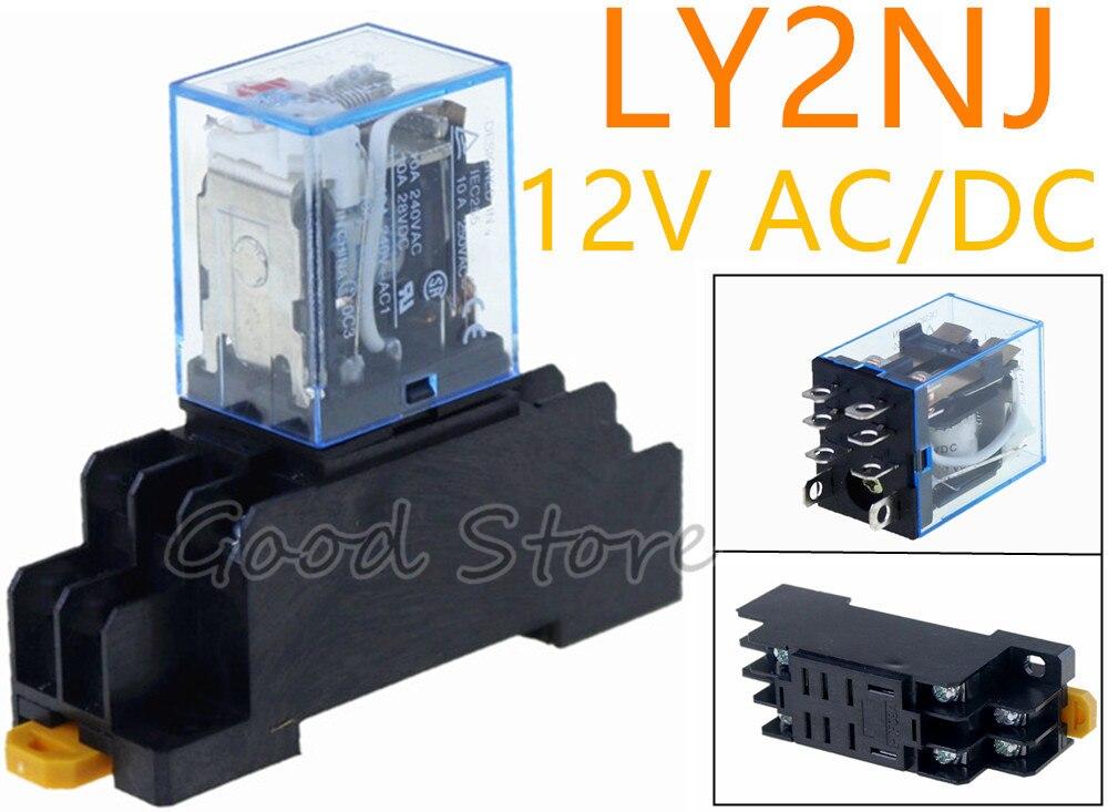 LY2NJ DC 6V Coil 8Pin DPDT Electromagnetic Power Relay w Socket Base