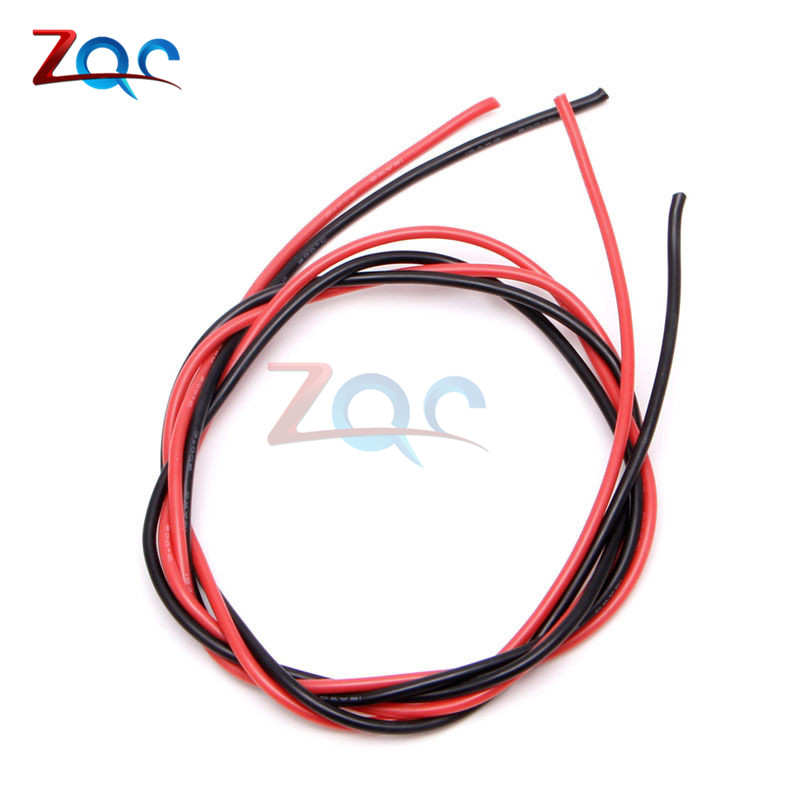 1set 16 AWG Gauge Wire Flexible Silicone Stranded Copper Cables For RC Black 1M + Red 1M = 2M 12 awg gauge silicone wire 1m black