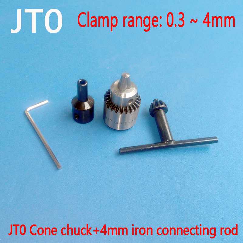 Watchmakers Electric Drill Chuck 0.3-4mm Jt0 Taper Mounted Lathe Pcb Mini Drill Chuck Key Kit With 4mm Motor Shaft Coupler Rod mini drill chuck 0 3 4mm jto taper mounted key lathe chuck pcb mini drill press applicable to motor shaft connecting rod 8 mm