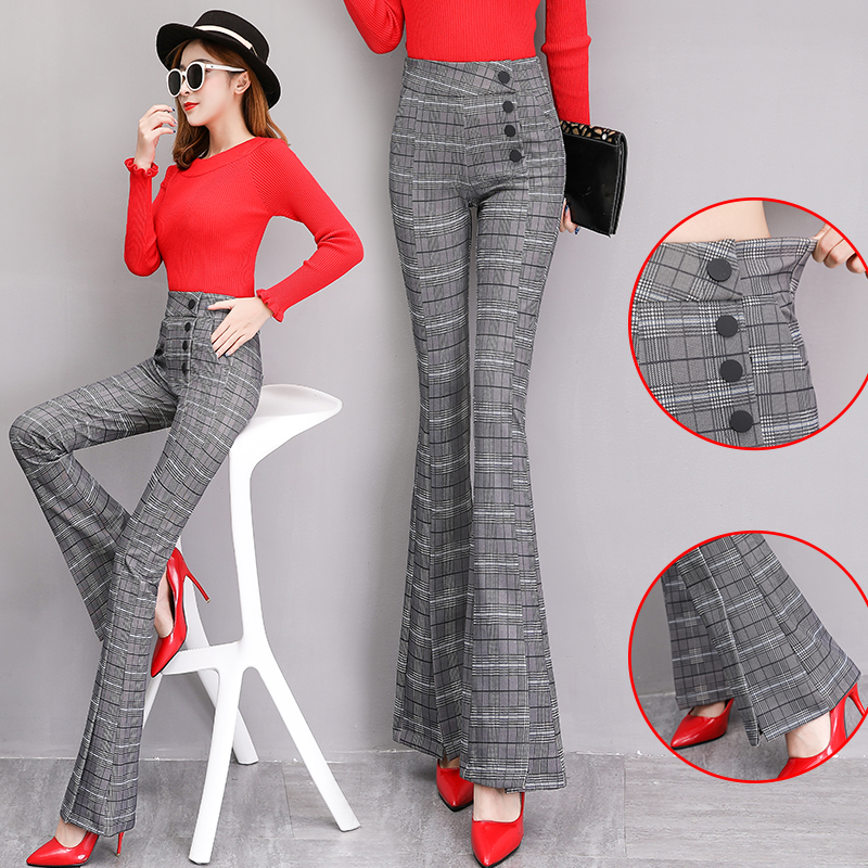 HANZANGL women Plaid Flare   Pants   2019 spring new micro horn trousers elastic force high waist Side Single-breasted Length   Capris