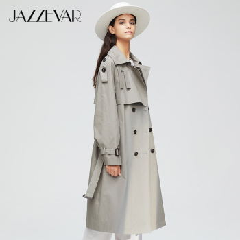 JAZZEVAR 2019 New arrival autumn top trench coat women double breasted long outerwear for lady high quality overcoat women 9003