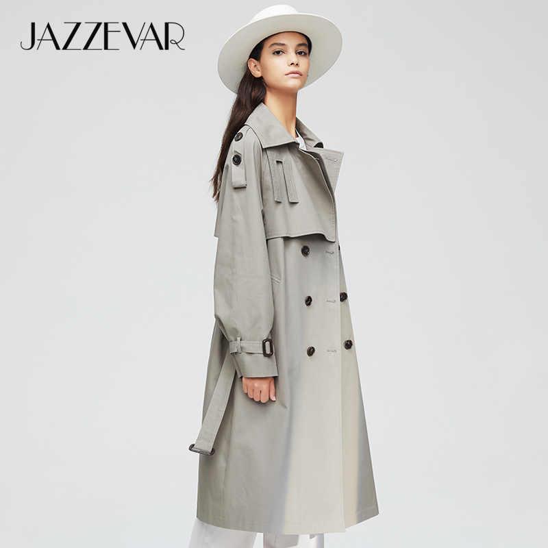 JAZZEVAR 2019 yeni varış sonbahar üst trençkot kadın kruvaze uzun giyim bayan yüksek kaliteli palto kadınlar 9003