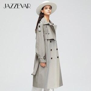 Image 2 - Jazzevar 2020 Nieuwe Collectie Herfst Top Trenchcoat Vrouwen Double Breasted Lange Bovenkleding Voor Lady Hoge Kwaliteit Overjas Vrouwen 9003