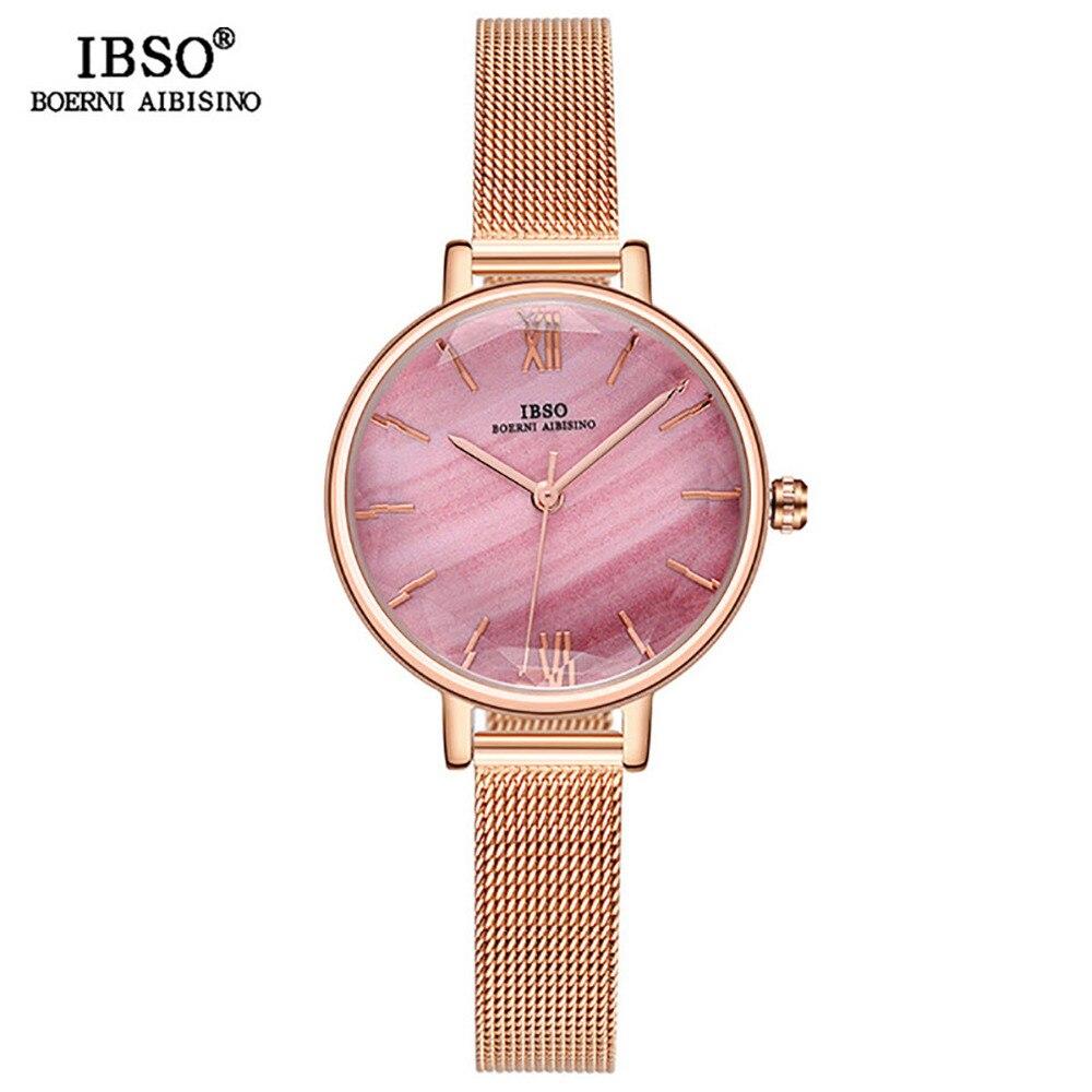 IBSO luxe Simple dame montres marque d'or montre femme coloré verre coupé montre créative bracelet en cuir montre mince S8663L