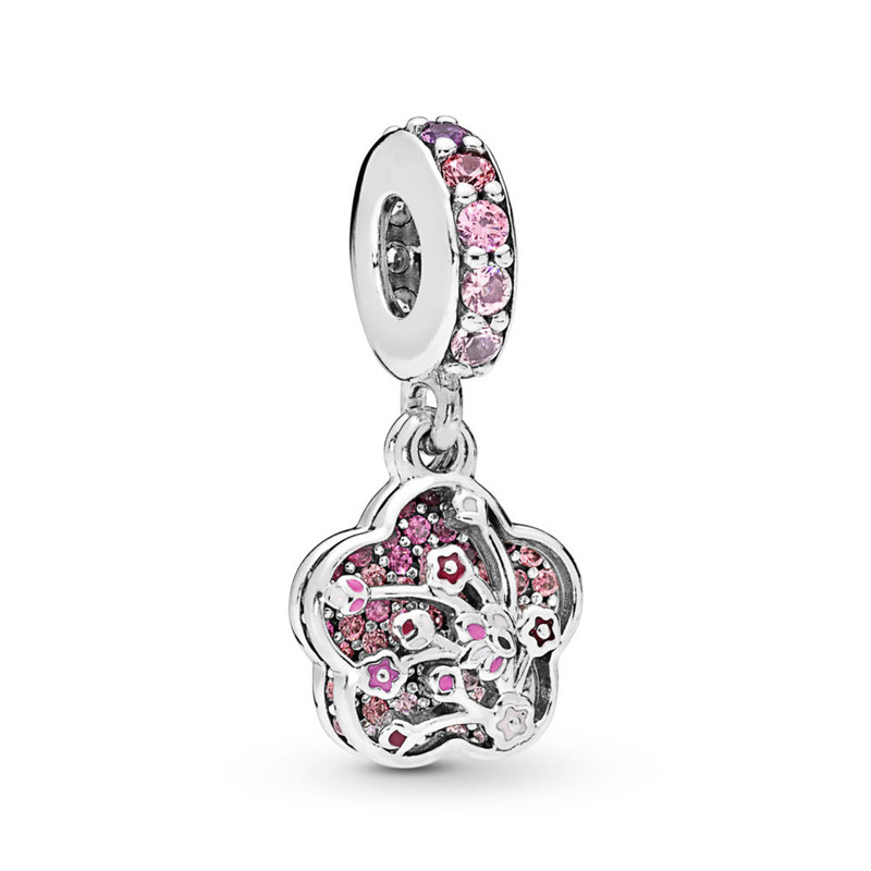 2019 New 925 Sterling Silver Pendant Bead Peach Blossoms Flower Hanging Charm Fit Original Pandora Bracelet Women DIY Jewelry in Charms from Jewelry Accessories