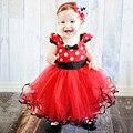 Muchacha del niño Minnie Vestido Del Tutú Rojo Para Niña Niños Desgaste del partido Polka Dot Muchacha de Los Niños ropa Infantil de Fantasía Minnie Outfis