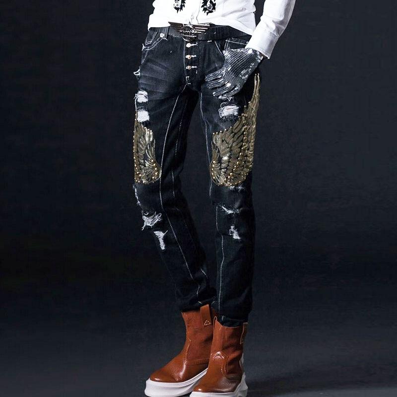 Embroidery Jeans Men Korean Slim Moto Biker Hole Denim Pants Vintage Sequins Stage Male Trousers Middle Skinny Jeans Man