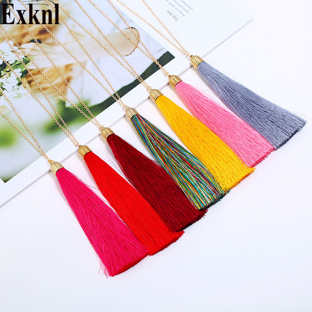 Exknl Brand 14 colors Long Tassel Necklace For Women Wholesale Bohemia Boho Neck