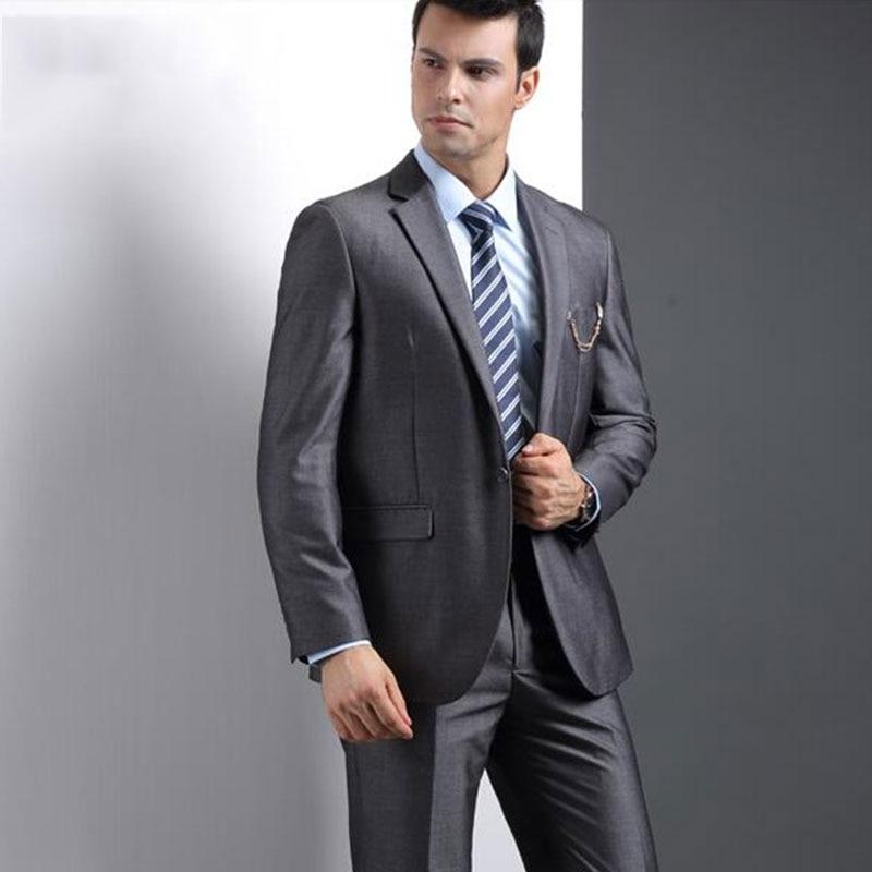 Elegent Dark Grey Mens Wedding Suits Blazer Jacket Slim Fit Groom Tuxedo Costume Homme Business Tailored Terno Masculino 2Piece