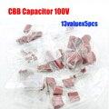 Frete Grátis 13valuesx5pcs = 65 pcs 100 V CBB Capacitor Assorted Kit 102 104 334 105 etc.