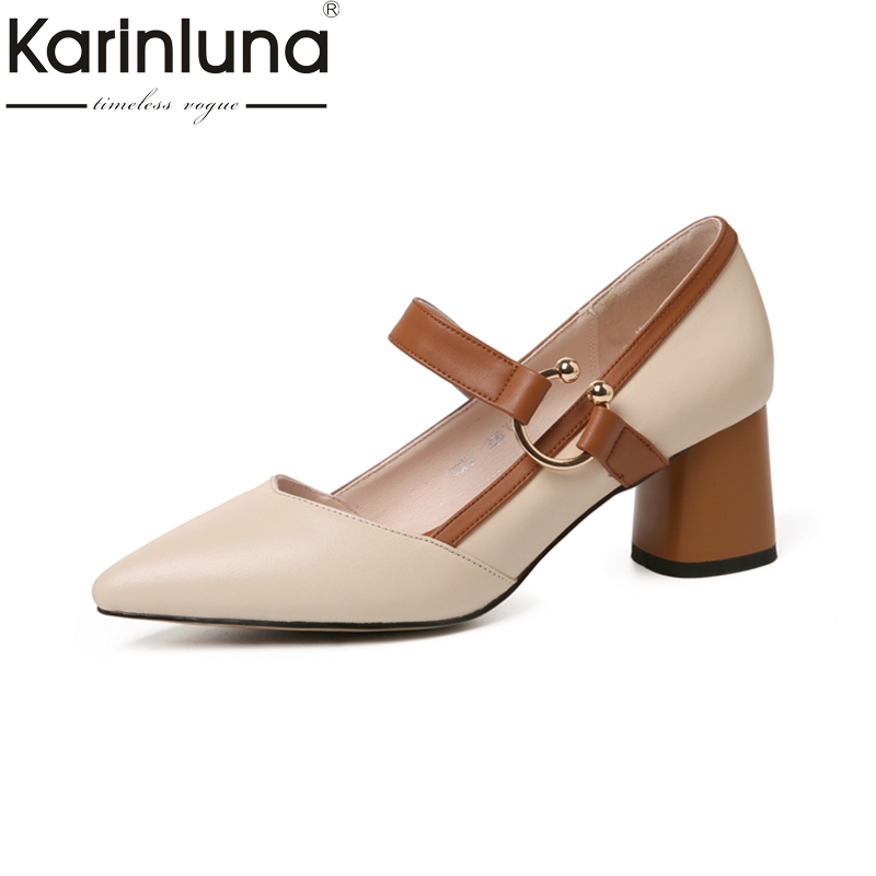 KARINLUNA fashion genuine leather Size 34-39 black Women Pumps cow leather thick Heel pointed Toe buckle strap Woman ShoesKARINLUNA fashion genuine leather Size 34-39 black Women Pumps cow leather thick Heel pointed Toe buckle strap Woman Shoes