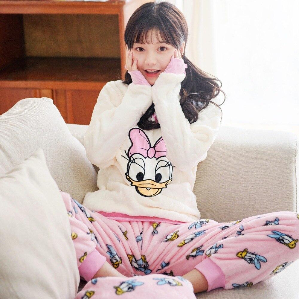 JINUO sweet girl famous cartoon duck pattern winter and autumn home   pajamas     sets   thick polar fleece femme sleepwear soft pyjamas