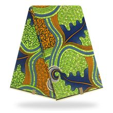 Green african wax print fabric 100% cotton batik fabrics /pagne for garments 6 yards YBGHL-367