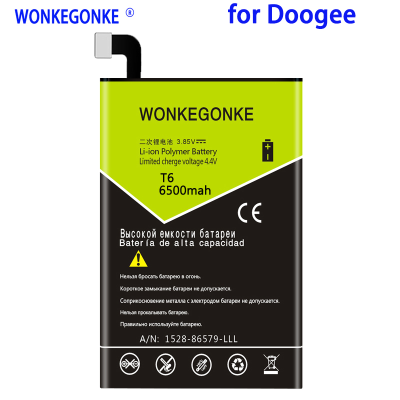 WONKEGONKE 6500mah For <font><b>Doogee</b></font> <font><b>T6</b></font>/ <font><b>T6</b></font> pro <font><b>Battery</b></font> High quality mobile phone <font><b>battery</b></font> with tracking number image