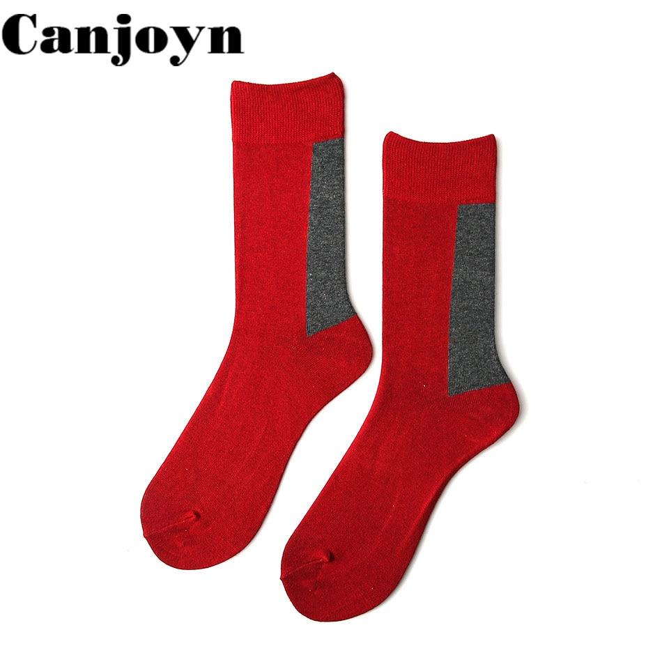 Canjoyn 5 pair fashion Crew cotton Red Happy socks Women Men Casual Socks Fun Couple Socks Best Gift