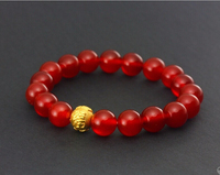 Hot sale 999 24k Yellow Gold Red 3D Carved FU Beads Bracelet