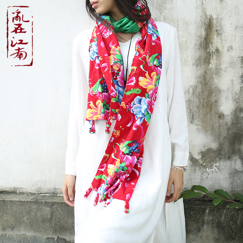 pure cotton shawl chinese national style tassels pure cotton soft and comfortable muffler neckerchief wraps