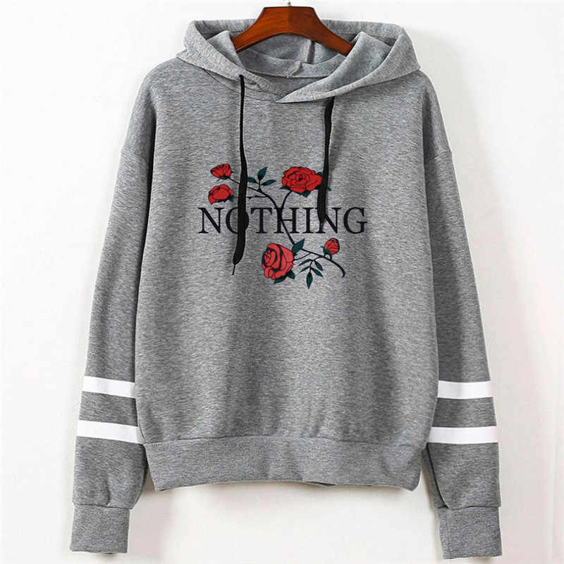 Women's Fashion Sweatshirt Womens Autumn Nothing Print Long Sleeve Hoodie Sweatshirt Jumper Hooded Pullover Tops dropshipping
