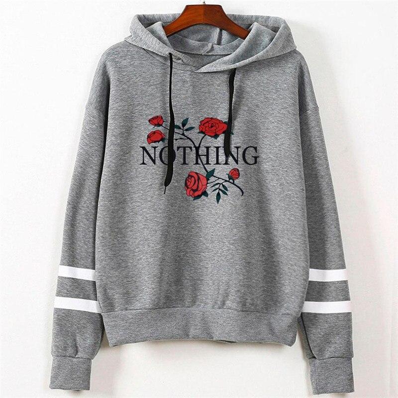 Women's Fashion Sweatshirt Womens Autumn Nothing Print Long Sleeve Hoodie Sweatshirt Jumper Hooded Pullover Tops dropshipping