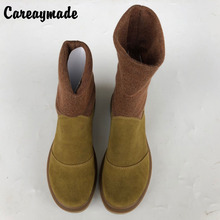 Careaymade-The Women autumn and winter boots Top layer Genuine leather shoes art RETRO Japanese comfort shoes women's boots Sen
