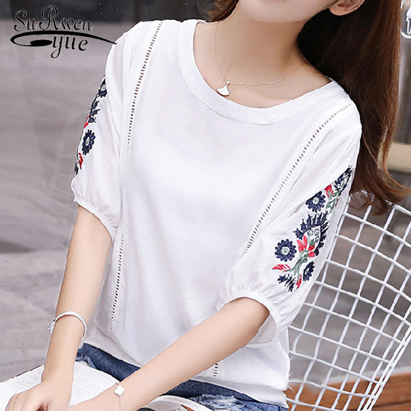 New 2019 Fashion white Summer tops floral Embroidery Women   Blouses     Shirts   plus size Short Sleeve women's clothing Blusas D872 30